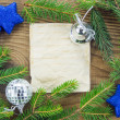Christmas Background.Blank Old Paper Sheet with Decoration — Stock Photo