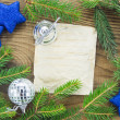 Christmas Background.Blank Old Paper Sheet with Decoration — Foto Stock