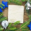 Christmas Background.Blank Old Paper Sheet with Decoration — Stok fotoğraf