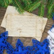 Christmas Background.Blank Old Paper Sheet with Decoration — Photo