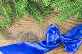 圣诞复古装饰边框设计在老木 backgro — 图库照片