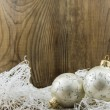Bright christmas composition on wooden background — Stock Photo