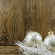 Bright christmas composition on wooden background — Stock Photo #37216215