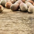 Filberts on a wooden table. Close-up shot. — Stock Photo