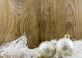 Bright christmas composition on wooden background — Zdjęcie stockowe