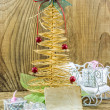 Christmas Vintage decoration border design over old wood backgro — Stock Photo #37554371