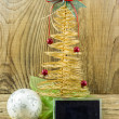 Stock Photo: Christmas Vintage decoration border design over old wood backgro