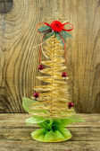 Christmas Vintage decoration border design over old wood backgro — Stock Photo