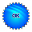 "Big blue button labeled ""OK"" — Stock Vector"