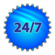 "Big blue button labeled ""247"" — Wektor stockowy"