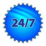 "Big blue button labeled ""247"" — 图库矢量图片"