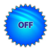 "Big blue button labeled ""OFF"" — Stockvector"