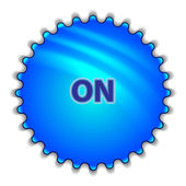 "Big blue button labeled ""ON"" — Stockvector"