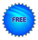 "Big blue button labeled ""Free"" — Vector de stock"