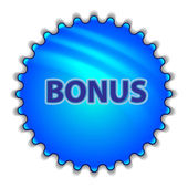 "Big blue button labeled ""Bonus"" — Stockvector"