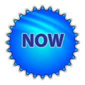 "Big blue button labeled ""NOW"" — Vector de stock"