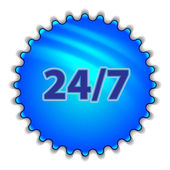 "Big blue button labeled ""247"" — Stock Vector"