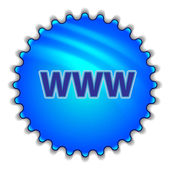 "Big blue button labeled ""WWW"" — Vector de stock"