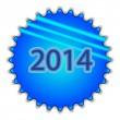 "Big blue button labeled ""2014"" — Wektor stockowy"