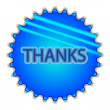 "Big blue button labeled ""THANKS"" — Vector de stock"