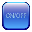 Big blue button labeled on off — Stock Vector #46085371