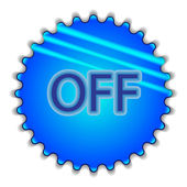 """Big blue button labeled """"OFF"""" — Stock Vector"""
