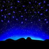 Stars in the sky at night over mountain vector background — Stock Vector