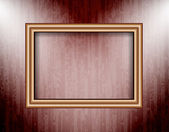 Blank frame on a colored wall lighting spotlights — Stock Vector