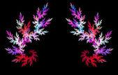 многоцветная фрактальный цветок на черном фоне. компьютерная графика. — Стоковое фото