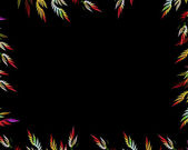 Multicolor fractal flower on black background. Computer generated graphics. — 图库照片