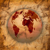 Abstract Old grungy paper and world map — 图库矢量图片