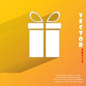 Gift web icon, flat design — Stock Vector