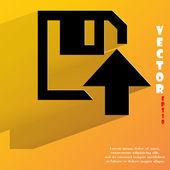 Floppy disk upload icon. flat modern design — Stock Vector