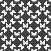 Butterfly web icon. flat design. Seamless gray pattern. — Stock Vector
