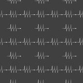 Heart rhythm web icon. flat design. Seamless gray pattern. — Stock Vector