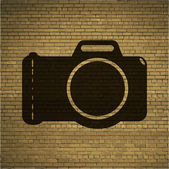 Photo camera. Flat modern web button and space for your text — Stock Vector