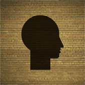 Man silhouette profile picture. Flat modern web button and space for your text. — Stockvector