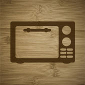 Microwave. kitchen equipment. Flat modern web button and space for your text. — Stock Vector