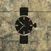 手表、 时钟。平现代 web 按钮和空间为您的文字. — 图库矢量图片