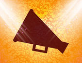 Megaphone, Loud-hailer .Flat modern web button and space for your text — Stock Vector