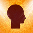 Man silhouette profile picture. Flat modern web button and space for your text. — Stock Photo