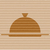 Restaurant cloche icon flat design with abstract background — Stock Photo