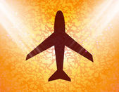Plane icon flat design with abstract background — Stock Photo