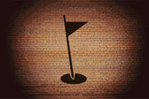 Golf flag icon flat design with abstract background — Стоковое фото