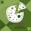 Pizza. Flat modern web button on a flat geometric abstract background — ストックベクタ