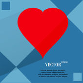 Red heart web icon on a flat geometric abstract background  — Wektor stockowy