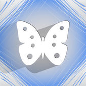 Butterfly. Flat modern web button  on a flat geometric abstract background — Stock Vector