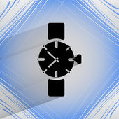 Watch,clock. Flat modern web button   on a flat geometric abstract background  — Stock Vector