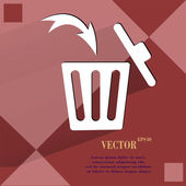Lata de lixo. botão web apartamento moderno em um plano geométrico abstrato — Vetor de Stock
