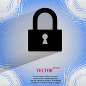 Padlock. Flat modern web design on a flat geometric abstract background — Stock Vector